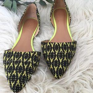 J. Crew Shoes - J.Crew D'orsay Tribal Flats Black Neon Green  9.5
